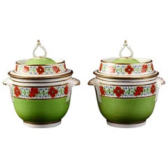 Coalport Porcelain Green-Ground Fruit Coolers and Covers with Royal Provenance