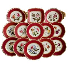 Coalport Porcelain Part-Dessert Service, Maroon Botanical Cecil Jones, 1820-1825