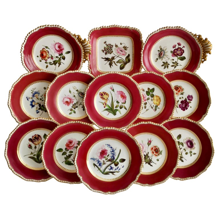 Coalport Porcelain Part-Dessert Service, Maroon Botanical Cecil Jones, 1820-1825