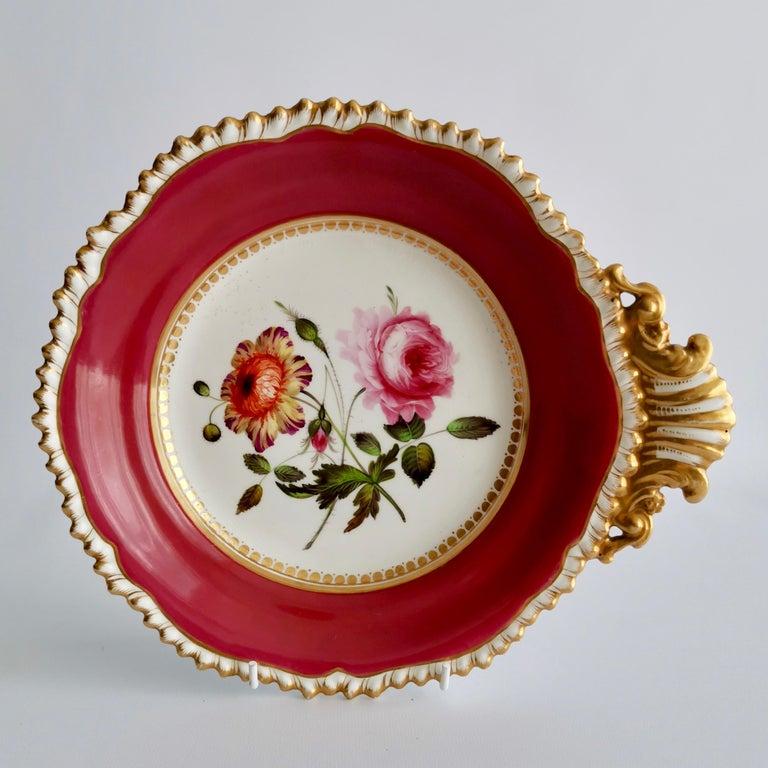 Hand-Painted Coalport Porcelain Part-Dessert Service, Maroon Botanical Cecil Jones, 1820-1825