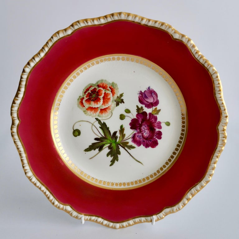 Early 19th Century Coalport Porcelain Part-Dessert Service, Maroon Botanical Cecil Jones, 1820-1825