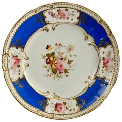 Coalport Porcelain Plate, Blue with Hand Painted Flowers, Regency 1827