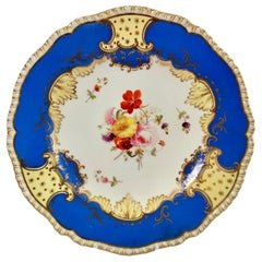 Coalport Porcelain Plate, Brunswick Blue and Flowers, Regency, circa 1825