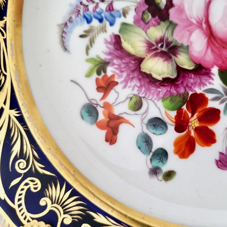 Coalport Porcelain Plate, Cobalt Blue and Spectacular Flowers, Regency 1820-1825 For Sale 5