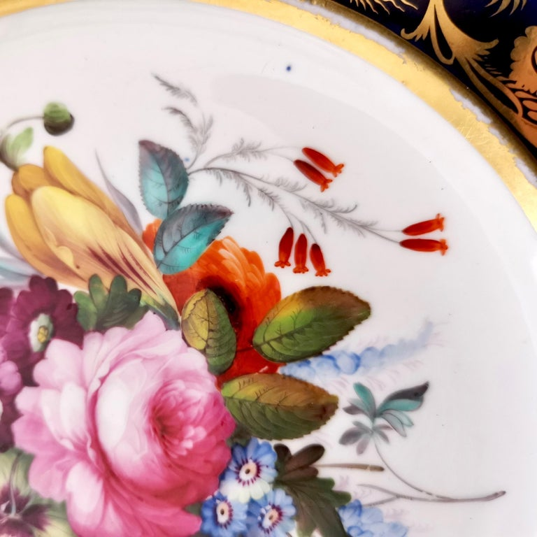 Coalport Porcelain Plate, Cobalt Blue and Spectacular Flowers, Regency 1820-1825 For Sale 6
