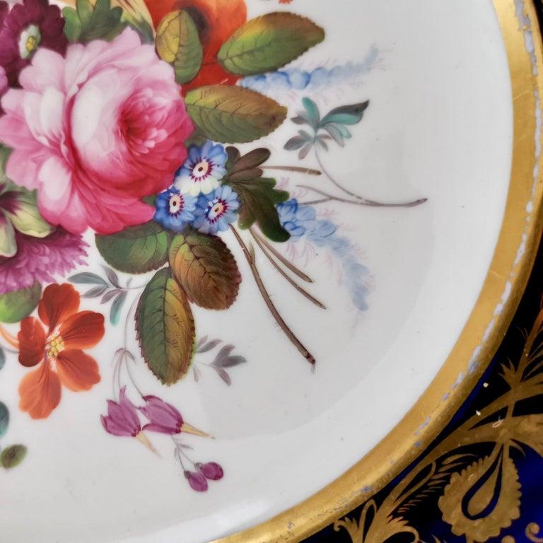 Coalport Porcelain Plate, Cobalt Blue and Spectacular Flowers, Regency 1820-1825 For Sale 7