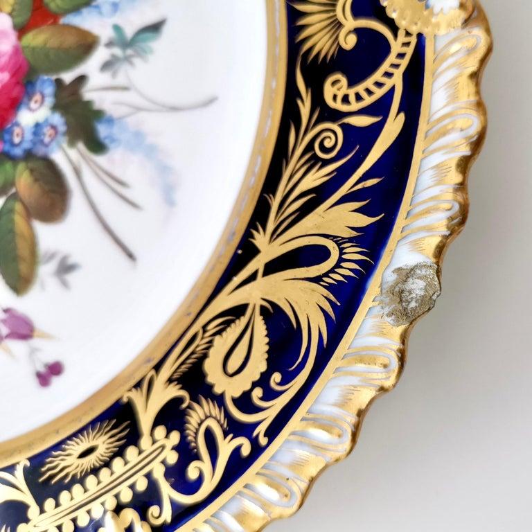Coalport Porcelain Plate, Cobalt Blue and Spectacular Flowers, Regency 1820-1825 For Sale 10