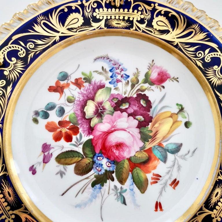 English Coalport Porcelain Plate, Cobalt Blue and Spectacular Flowers, Regency 1820-1825 For Sale