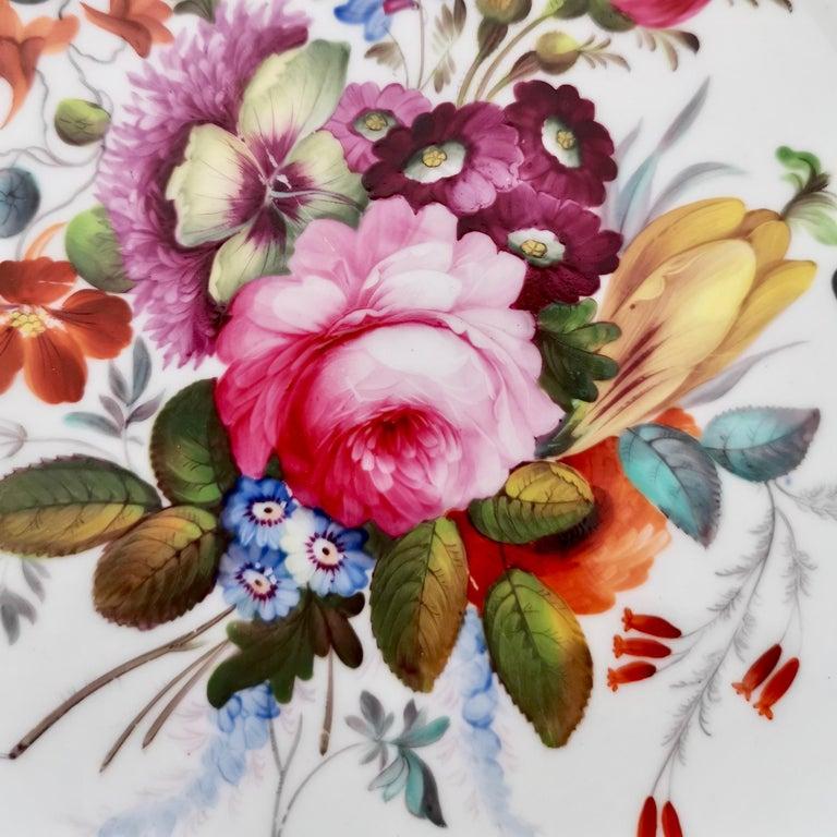 Hand-Painted Coalport Porcelain Plate, Cobalt Blue and Spectacular Flowers, Regency 1820-1825 For Sale