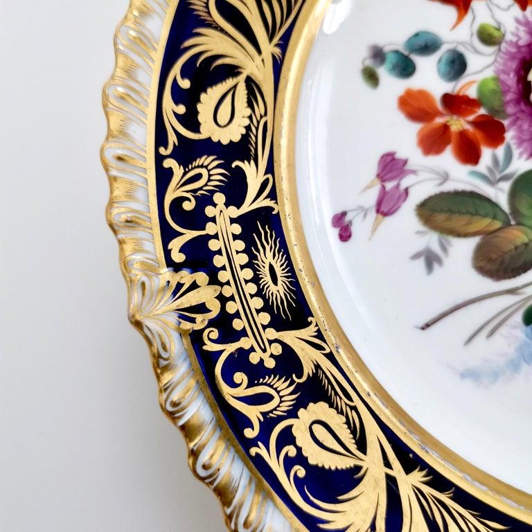Coalport Porcelain Plate, Cobalt Blue and Spectacular Flowers, Regency 1820-1825 For Sale 1