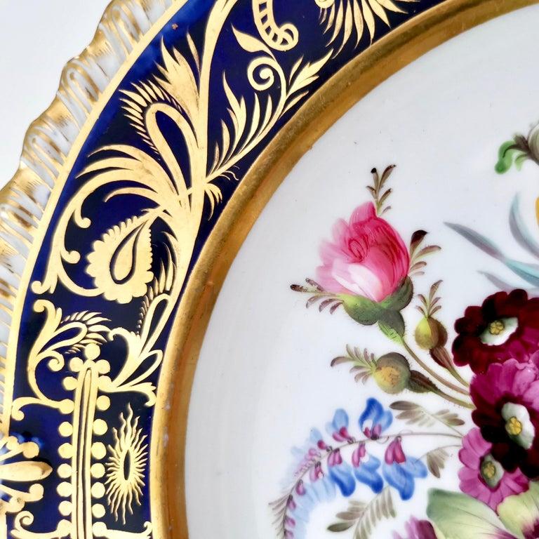 Coalport Porcelain Plate, Cobalt Blue and Spectacular Flowers, Regency 1820-1825 For Sale 3