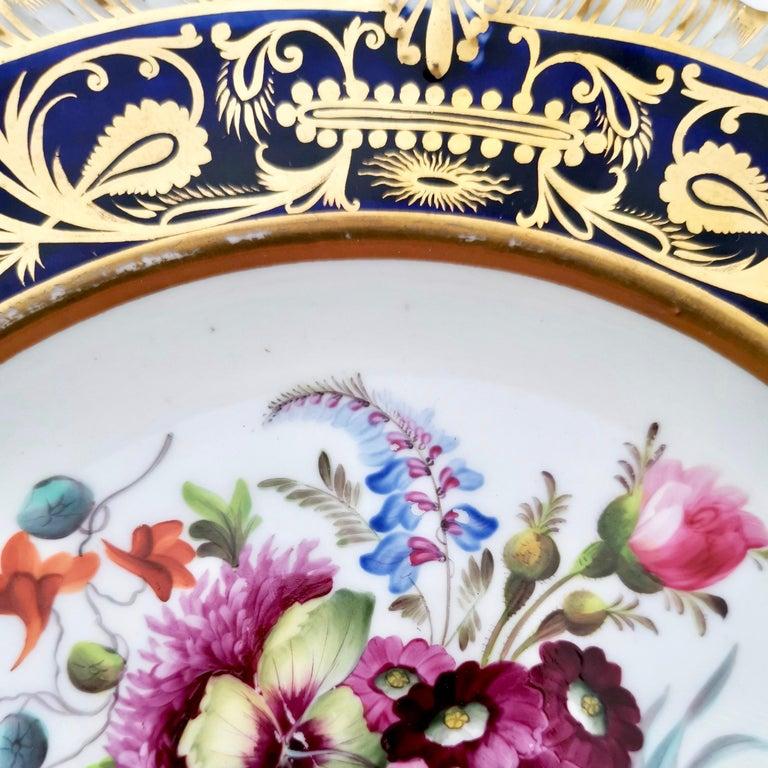 Coalport Porcelain Plate, Cobalt Blue and Spectacular Flowers, Regency 1820-1825 For Sale 4