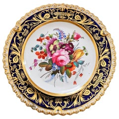 Coalport Porcelain Plate, Cobalt Blue and Spectacular Flowers, Regency 1820-1825