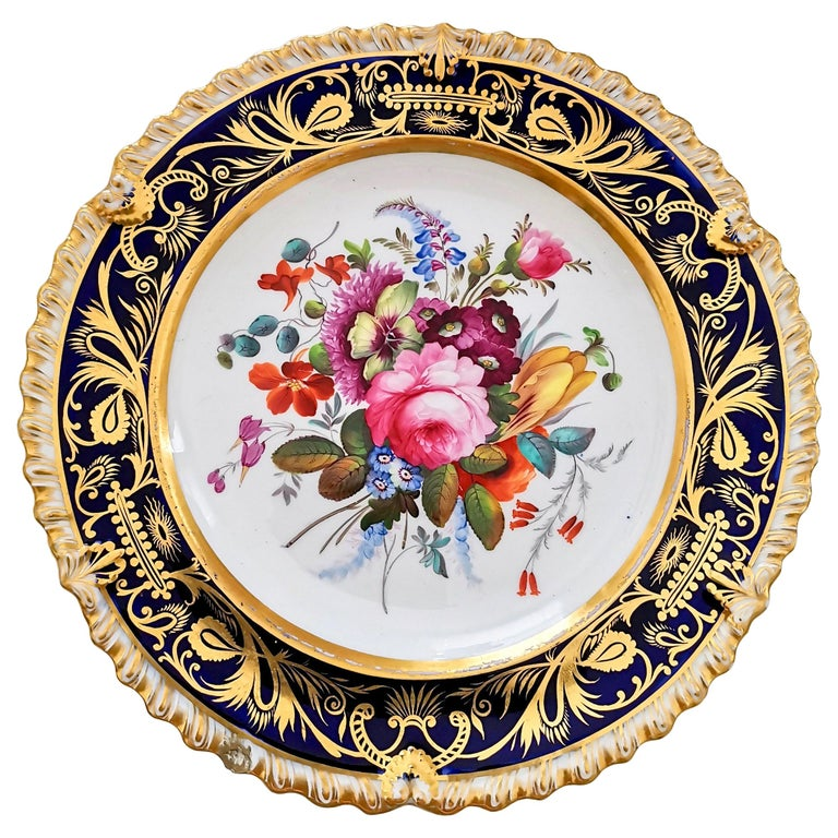 Coalport Porcelain Plate, Cobalt Blue and Spectacular Flowers, Regency 1820-1825 For Sale