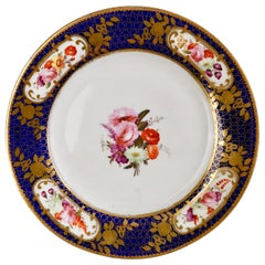Coalport Porcelain Plate, Cobalt Blue, Gilt and Flowers, Regency, circa 1815