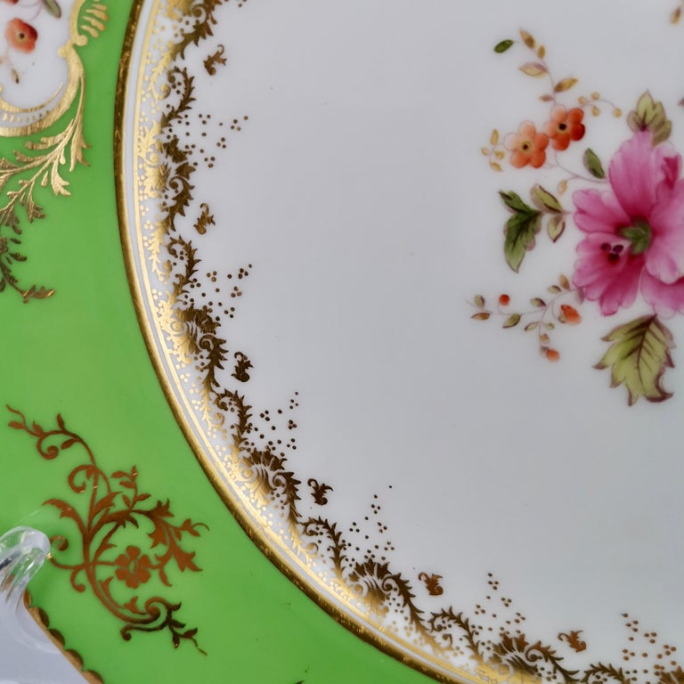 Victorian Coalport Porcelain Plate, Green with Sèvres Style Flowers and Gilt, 1882 For Sale