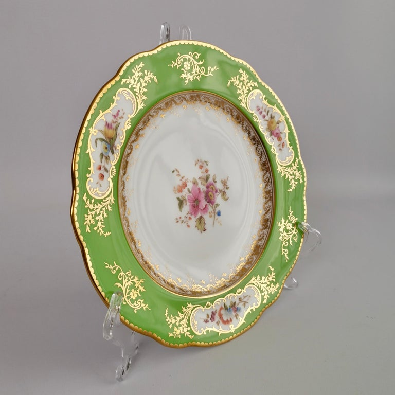 English Coalport Porcelain Plate, Green with Sèvres Style Flowers and Gilt, 1882 For Sale