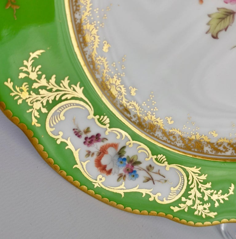 Hand-Painted Coalport Porcelain Plate, Green with Sèvres Style Flowers and Gilt, 1882 For Sale
