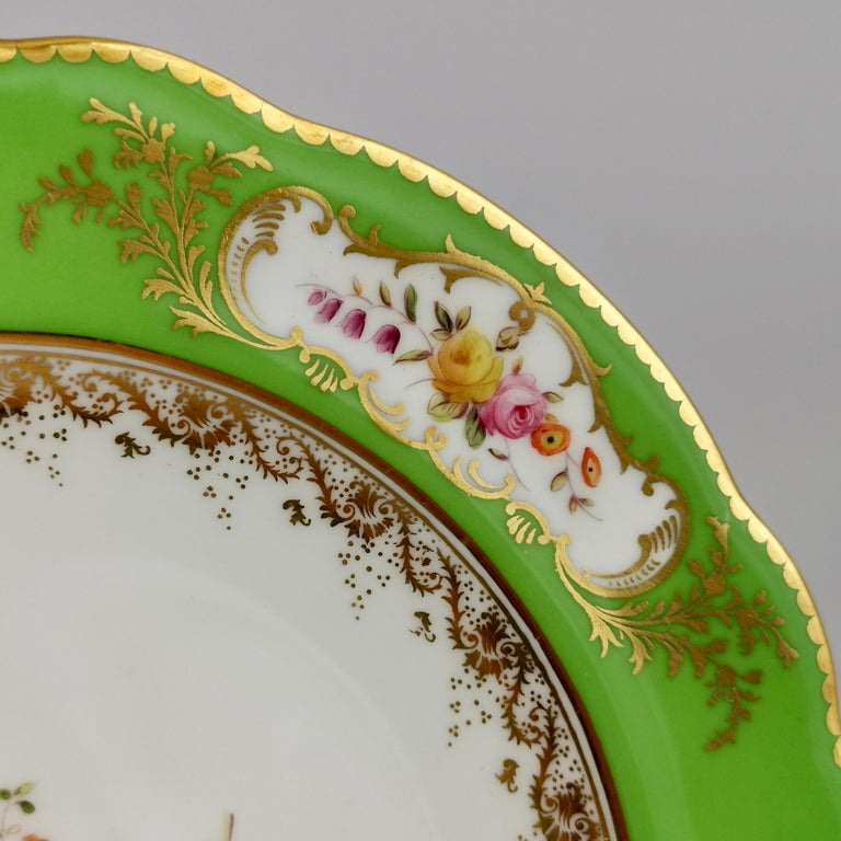 Late 19th Century Coalport Porcelain Plate, Green with Sèvres Style Flowers and Gilt, 1882 For Sale