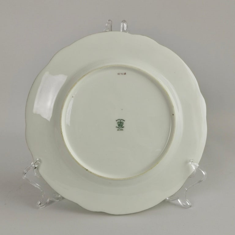 Coalport Porcelain Plate, Green with Sèvres Style Flowers and Gilt, 1882 For Sale 1