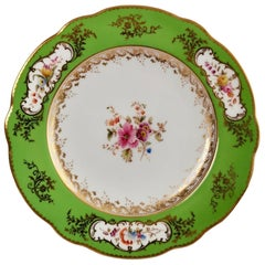 Coalport Porcelain Plate, Green with Sèvres Style Flowers and Gilt, 1882