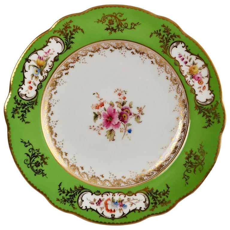 Coalport Porcelain Plate, Green with Sèvres Style Flowers and Gilt, 1882 For Sale