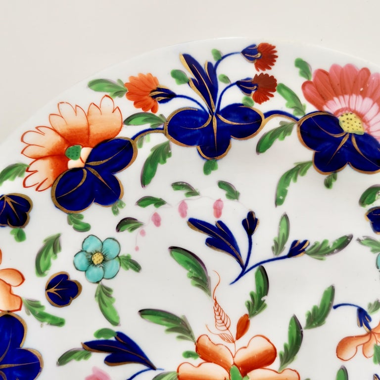 English Coalport Porcelain Plate, Imari Pattern, Regency, circa 1820 For Sale