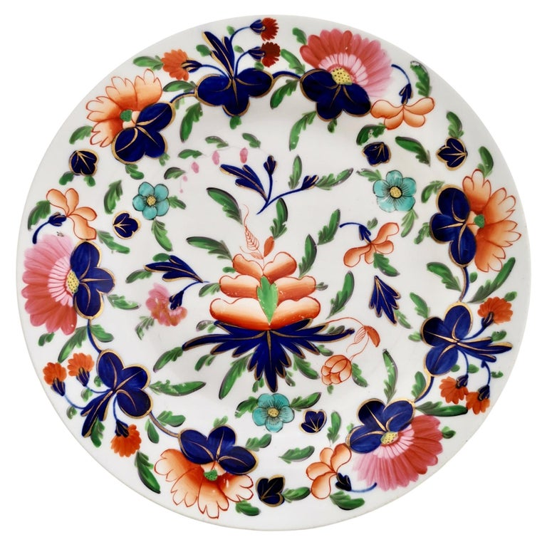 Coalport Porcelain Plate, Imari Pattern, Regency, circa 1820 For Sale