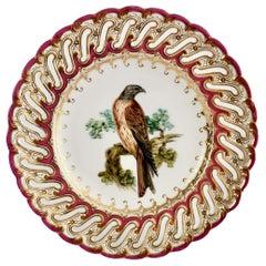 Coalport Porcelain Plate, Maroon Pierced Rim and Falcon by John Randall, 1849