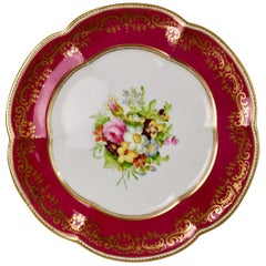 Coalport Porcelain Plate, Maroon with Flowers by Thomas Dixon, circa 1860