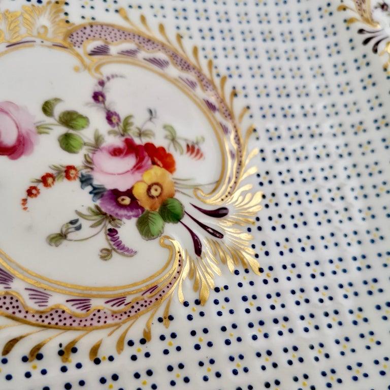 Coalport Porcelain Plate, Moulded Surface, White, Blue, Flowers, Regency For Sale 4