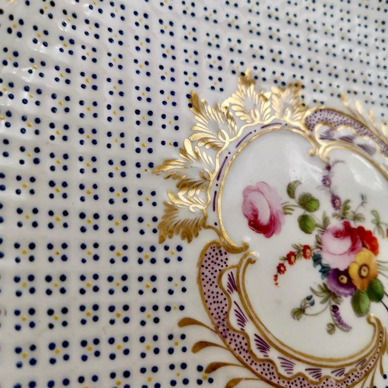 Coalport Porcelain Plate, Moulded Surface, White, Blue, Flowers, Regency For Sale 5