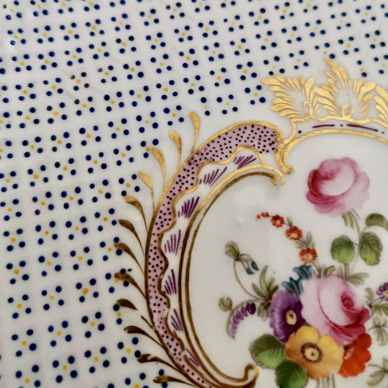 Coalport Porcelain Plate, Moulded Surface, White, Blue, Flowers, Regency For Sale 6