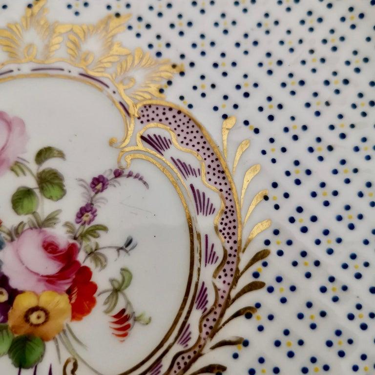 Coalport Porcelain Plate, Moulded Surface, White, Blue, Flowers, Regency For Sale 7