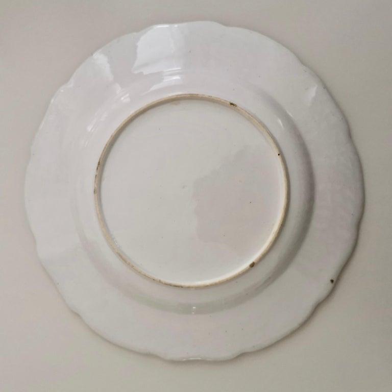 Coalport Porcelain Plate, Moulded Surface, White, Blue, Flowers, Regency For Sale 8