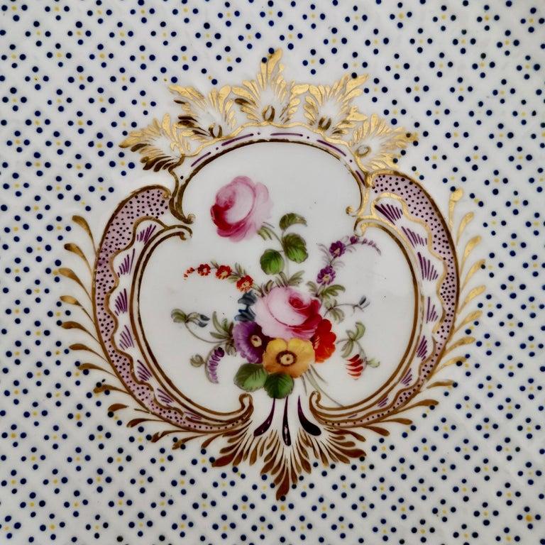 English Coalport Porcelain Plate, Moulded Surface, White, Blue, Flowers, Regency For Sale