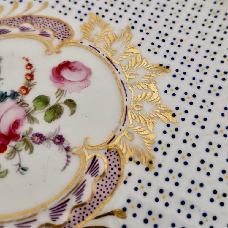 Hand-Painted Coalport Porcelain Plate, Moulded Surface, White, Blue, Flowers, Regency For Sale