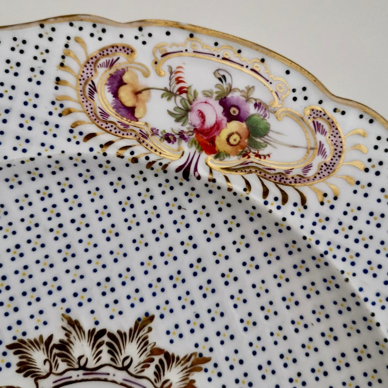 Coalport Porcelain Plate, Moulded Surface, White, Blue, Flowers, Regency In Good Condition For Sale In London, GB