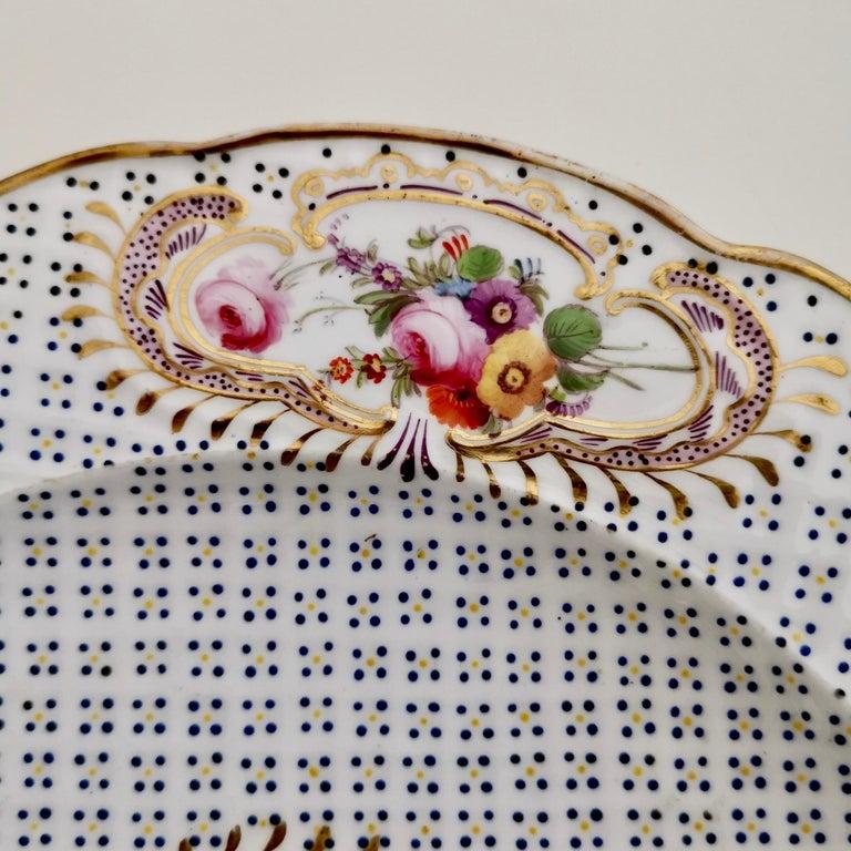 Coalport Porcelain Plate, Moulded Surface, White, Blue, Flowers, Regency For Sale 1
