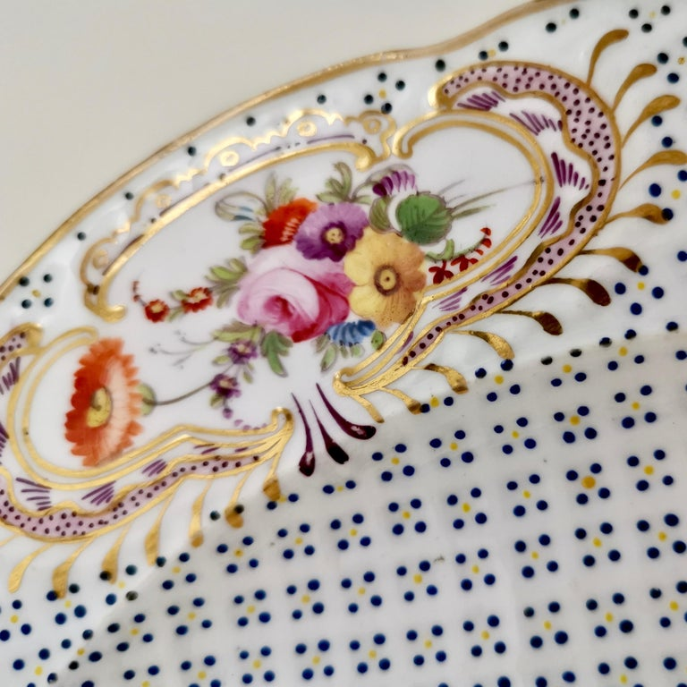 Coalport Porcelain Plate, Moulded Surface, White, Blue, Flowers, Regency For Sale 2