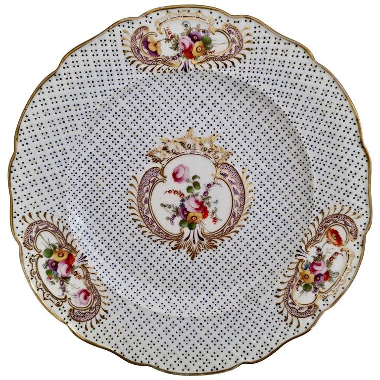 Coalport Porcelain Plate, Moulded Surface, White, Blue, Flowers, Regency For Sale