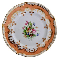 Coalport Porcelain Plate, Peach Ground and Flowers by Thomas Dixon, '1'