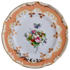 Coalport Porcelain Plate, Peach Ground and Flowers by Thomas Dixon