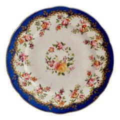 Coalport Porcelain Plate, Royal Blue with Flower Garlands, 1820-1825