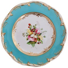 Coalport Porcelain Plate, Sky Blue with Flowers by Thomas Dixon, 1845-1850 '1'