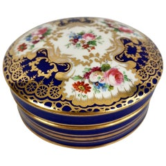 Coalport Porcelain Powder Box, Cobalt Blue and Flowers, Victorian, circa 1880