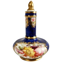 Coalport Porcelain Scent Bottle, Cobalt Blue and Flowers, Regency, circa 1820