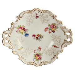 Coalport Porcelain Serving Dish, White with Flowers, Victorian, 1891-1926
