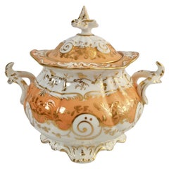 Coalport Porcelain Sucrier, Apricot and Gilt, Rococo Revival, circa 1835