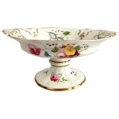 Coalport Porcelain Tazza, Blind-Moulded White, Swansea Flowers, Regency